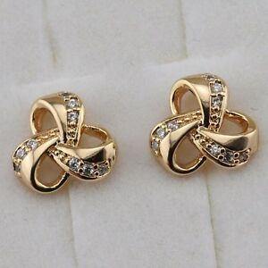 Cute Simple Nice White CZ Gems Jewelry Yellow Gold Filled Stud Earrings h2697