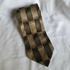 Arrow 100% Silk Olive Green and Beige Rectangles Geometric Neck Tie USA Made