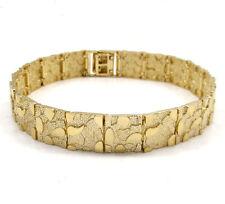 "33 Grams 15 mm 9"" Mens 10k Yellow Gold Large Nugget old School Hip Hop Bracelet"