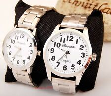 6pcs old man lady easy read time Steel wrist watches Grandparents gifts LK44