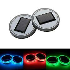 1pc Solar Cup Pad Car Accessories LED Light  Interior Cover Decoration Light