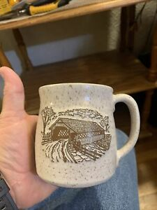 Onion River Pottery Covered Bridge Coffee Cup Mug VT Vermont Speckled Beige Brow