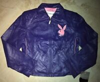 Playboy Women's Leather Jacket Adult Ladies Small Sexy Embroidered Logos Purple