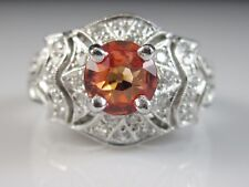 Platinum Topaz Diamond Ring Orange Estate Fine Jewelry 10gr Signed Size 6 $3000