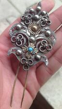 Antiqu Bulgaria Ottoman Silver Plated Folk Ethnic Brooch Headdress Hair Filigree