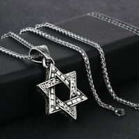 Stainless Steel Star Of David Pendant Necklace Magen David Wheat Chain