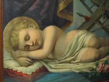Antik Heiligenbild Schutzbild schlafendes Jesus Kind Kreuz Shabby Chic Bild Holz