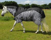Rhinegold Masai2 Full Neck Combined Outdoor/Fly Rug, Waterproof Topline, Zebra