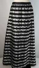 Vtg Maxi Skirt Embellished Satin Formal Unique Embroidery Couture Black White