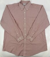 Men's Brooks Brothers Regent Non-Iron Button Red Striped Dress Shirt 2XL 18 4/5