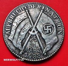 Bandera nazi de Adolf Hitler 1933 Tercer Reich alemán Excelente moneda Segunda Guerra Mundial 32 mm de la segunda guerra mundial
