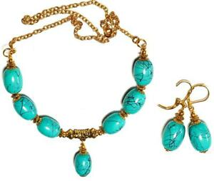 GOLD NECKLACE EARRING SET Turquoise unique gypsy vintage antique style pierced