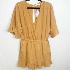 NWT Lush Marigold Gold Striped Open Back Ruffle Flounce Romper Shorts Size L