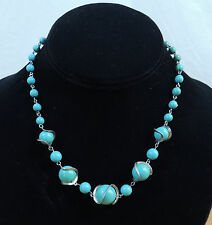 "Vintage Costume Silver Wrapped Aqua Blue Bead Choker Necklace 15"""