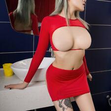 Women Sexy Open Bra&Bust Crop Top Mini Skirts Dress Lingerie Set Clothes Outfits