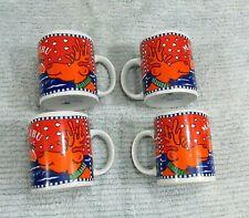 Set 4 Malibu Coconut Rum Hot Chocolate Christmas Moose Porcelain Mugs FREE S/H