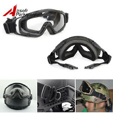 Tactical Paintball Ballistic Goggle Glasses w/ 2* Lens for Helmet with Side Rail