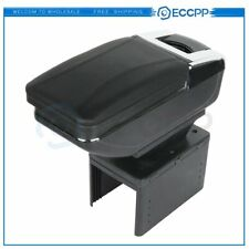 Leather Center Console Armrest Storage Box Black Central Container Universal Fits Nissan