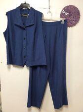 Womens two piece dress pant set size 16 W blue lightweight Sag Harbor Woman 175