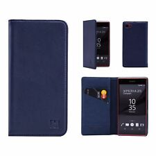 Classic Style Real Leather Book Wallet Case Cover for Sony Xperia Z5 Compact Sny.z5comp.32ndclassic-navyblue Navy Blue