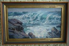 Seascape Oil Painting Waves Rocky Coastline Light House Shore Birds Vtg Framed