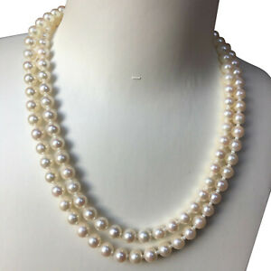 High Luster 6.5-7mm Japanese Akoya Seawater White pearl Necklace Double strand