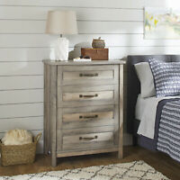 4-Drawer Modern Farmhouse Dresser Chest Rustic Gray White Antique Brass Metal