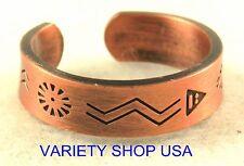 Antiqued Copper Aztec Ring Adjustable Band 3028-D