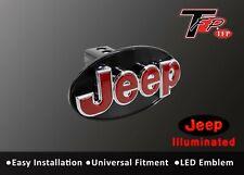 JEEP Logo LED Light Trailer Towing Hitch Brakelight Cover - Chrome