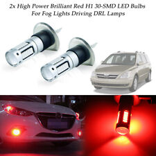 2PCS Brilliant Red H1 30-SMD LED Car Fog Lights Daytime Running Lamps DRL Bulbs