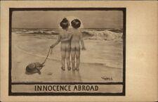 MDS Innocence Abroad Kids on Beach c1910 Comic Postcard