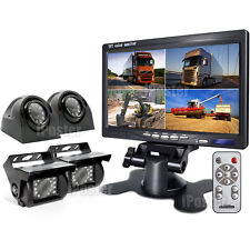 """7"""" QUAD MONITOR 2X SIDE+2X REAR VIEW CCD CAMERA 4PIN SYSTEM 12-24V FOR TRUCK VAN"""