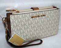 New Michael Kors MK Signature Double Zip Phone Case Wallet Wristlet Vanilla