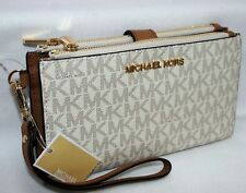 New Michael Kors MK Signature Double Zip Phone Case Wallet Wristlet Vanilla