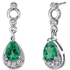 1 CT Pear Green Emerald Sterling Silver Dangling Earrings