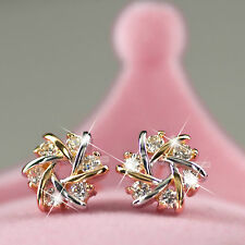 18k yellow white gold GF simulated diamond stud earrings flower 9mm