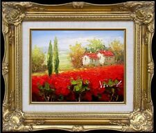 Framed Quality Hand Painted Oil Painting Tuscany Italy Poppy Field, 8x10in