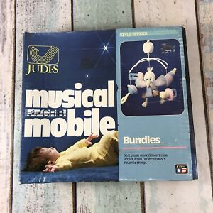 JUDIS MUSICAL 80s CRIB MOBILE Animal Stork Baby Toys ' Teddy Bears Panic'