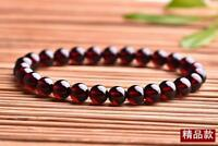 Genuine Natural Wine Red Garnet Crystal Round Beads Stretch Bracelet 7mm AAA