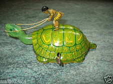 Lovely early tinplate CHEIN TURTLE NATIVE RIDER 1930 U.S.A wind-up works tin toy