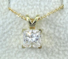 1/4 CT Princess Solitaire Yellow Gold Diamond Pendant+Necklace Special Promotion