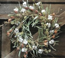 "WREATH COTTON PATCH Southern Farmhouse Large 24"" Autumn Harvest or SPRING Wreath"