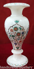 """9"""" White Marble Vase Decoration Marquetry Inlay Mosaic Home Gift Art Decor H2296"""