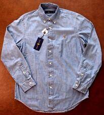 NEW Polo Ralph Lauren Denim Look Micro Linen Sport Shirt Size Medium $98.00
