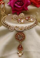 Indian Delicate GoldPlated Imitation Meenakari Pearl Choker Necklace Set
