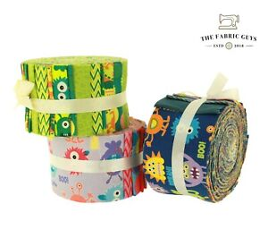 Monsters Chevrons Spots Jelly Roll, Cotton Fabric Purple Green Blue, 20 Strips