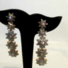 Estate Ear Rings Rough Cut Diamonds  Silver gold overlay. 5 drops Mint One Kind