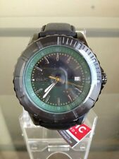 NIB RELIC by FOSSIL Avondale Green Dial Black Leather Men's Watch ZR11992