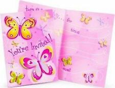 Girl Birthday Party Supplies - Butterfly Themed Party Invitations 8 pack