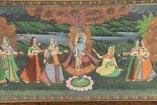 Vintage South Asian Gouache Painting of Krishna with His Cosort